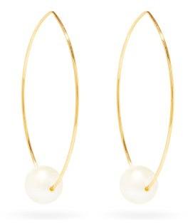 Mizuki Gold, Pearl And Diamond Hoop Earrings - Womens - Pearl