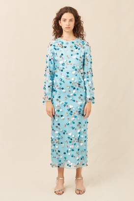 Mansur Gavriel Floral Embellished Silk Evening Gown - Sky Blue