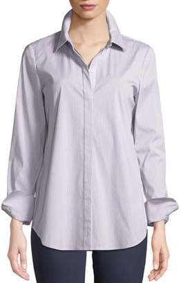 Lafayette 148 New York Scottie Button-Front Long-Sleeve Coy Striped Blouse