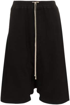 Rick Owens Black drop-crotch cropped cotton shorts