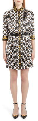 Versace Harness Print Belted Silk Shirtdress