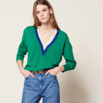Sandro V-neck sweater with two-tone edging