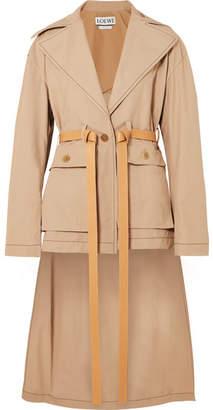 Loewe Leather-trimmed Cotton Jacket - Beige