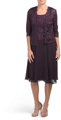 Sequin Scalloped Lace Dress With Jacket