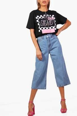 boohoo Scallop Waist Wide Leg Denim Culottes