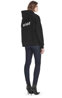 Alexander Wang EXCLUSIVE OVERSIZED HOODIE WITH STRICT PATCH TOP