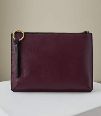Reiss Our last order date for Christmas has now passed PAISLEY LEATHER ZIP POUCH Berry