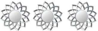 Northlight Set of 3 Floral Arches Matte Silver Wall Mirrors 9.5""