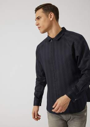 Emporio Armani Zipped Shirt In Double Stripe Pinstripe Fabric