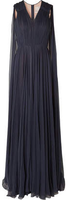 Jason Wu Cape-effect Silk-crepon Gown - Navy