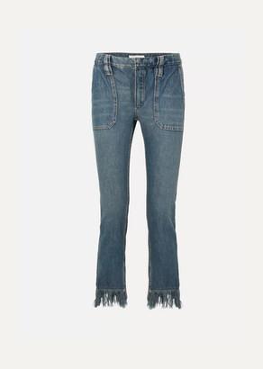 Chloé Cropped Fringed Mid-rise Slim-leg Jeans - Indigo
