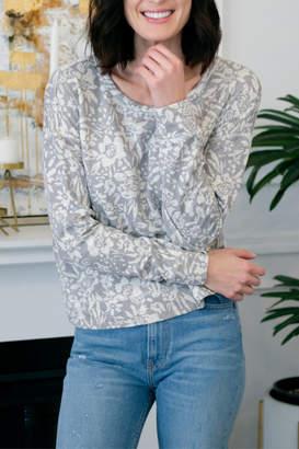 Mod-o-doc Mododoc Grey Floral Print Cropped Boxy Sweatshrit