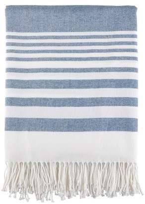 """Saro Lifestyle Stripe Pattern Fringe Throw Blankets (50""""x60"""") - Saro Lifestyle®"""