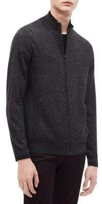 Calvin Klein Merino-Blend Tipped Mockneck Zip Sweater