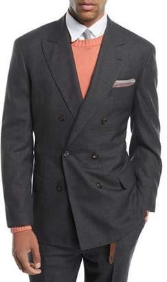 Brunello Cucinelli Peak-Lapel Double-Breasted Wool Suit