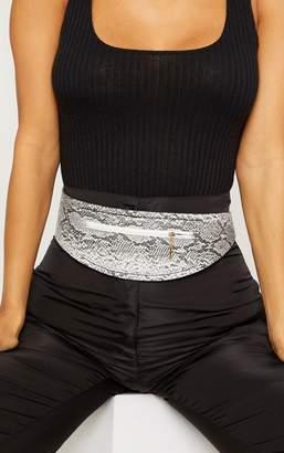PrettyLittleThing Grey Snake Zip Pocket Belt