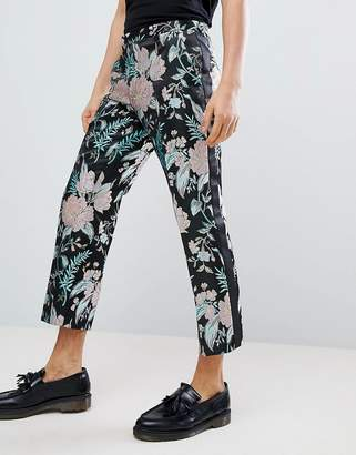 Asos Edition EDITION straight crop smart pants in floral jacquard