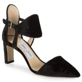 Jimmy Choo Moon Velvet Ankle Cuff Block Heels