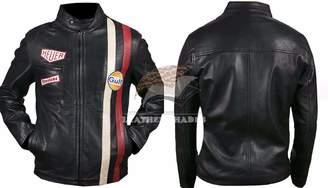 Tag Heuer Leather Shades teve McQueen Le Mans Driver Grandprix Original Biker Leather Jacket (XL)