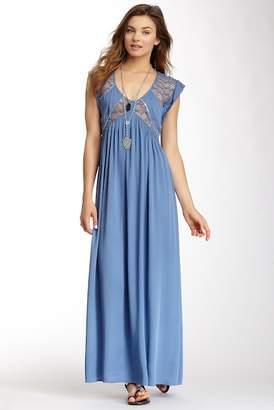 Love Stitch Sequins Lace Insert Maxi Dress