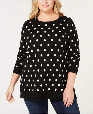 Charter Club Plus Size Dot-Print Tunic Sweater, Created for Macy's