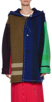 Marni Button-Front Yarn-Dyed Hooded Colorblocked Blanket Coat