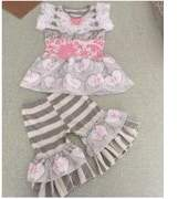 Baby Star Pink and Grey Stripe Petticoat Girls Pant Set 12-18M/XS