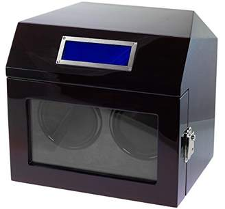Lindberg & Sons watchwinder for two automatic wrist watches Black Wood Velvet LED - WW-8211-b