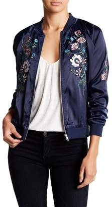 Romeo & Juliet Couture Embroidered Satin Bomber Jacket