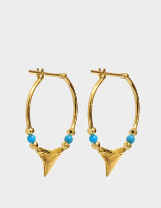 Aurelie Bidermann Fine Jewellery - 18K Gold Shark Teeth Earrings With Turquoise & Yellow Gold Pearls