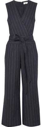 L'Agence Joslyn Pinstriped Linen And Cotton-blend Canvas Jumpsuit - Navy