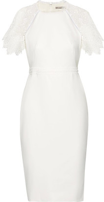Lela Rose - Corded Lace-trimmed Crepe Dress - White $1,595 thestylecure.com