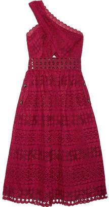 Self-Portrait One-shoulder Cutout Cotton-blend Guipure Lace Midi Dress - Red