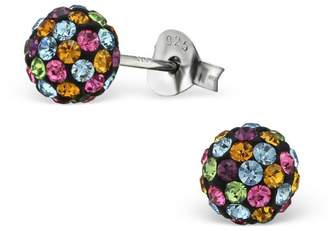 Glitzs Sterling Silver Children's Round Stud Earrings with Crystal