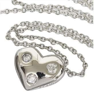 Tiffany & Co. Platinum 3P Enhanced Diamonds Heart Pendant Necklace