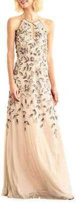 Adrianna Papell Floor-Length Halterneck Beaded Gown $299 thestylecure.com