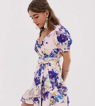 8bb9db26e041 Sisters Of The Tribe Petite wrap dress in floral