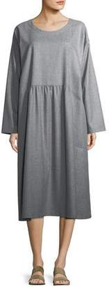 eskandar Pleated Round-Neck Wool Dress