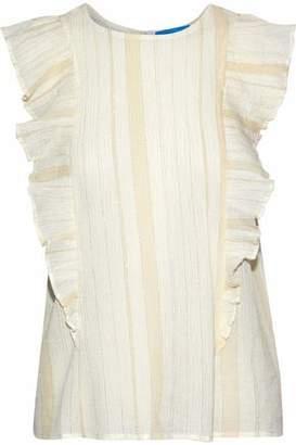 MiH Jeans Hardin Ruffle-Trimmed Striped Cotton-Blend Gauze Blouse