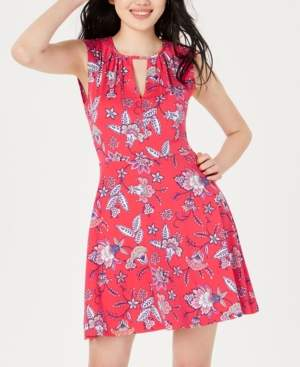 BeBop Juniors' Printed Keyhole A-Line Dress