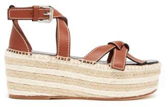 Loewe Gate Knotted Flatform Leather Sandals - Womens - Tan