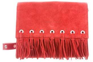 Longchamp Suede Fringe-Accented Crossbody Bag