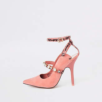 River Island Pink pearl pointed toe strappy pumps