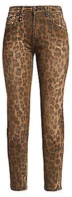R 13 Women's Leopard High-Rise Skinny Jeans