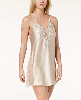 Flora Nikrooz Flora by Stella Charmeuse Embroidered-Neckline Chemise