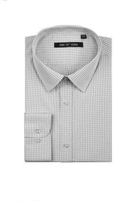 Verno Fashion Big Mens Black and White Plaid Fabric Long Sleeve Classic Fit Dress Shirt