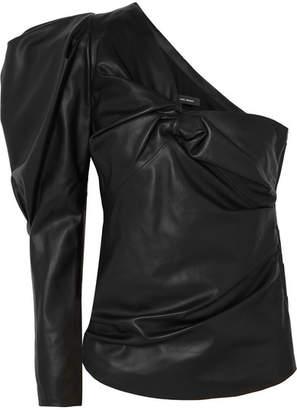 Isabel Marant Noop One-shoulder Ruched Leather Top - Black
