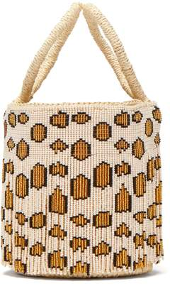 Sensi STUDIO Mini leopard-print beaded-fringe bucket bag