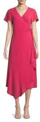 Halston H Short-Sleeve Wrap Dress With Asymmetrical Hem