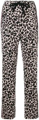 No.21 leopard print drawstring trousers
